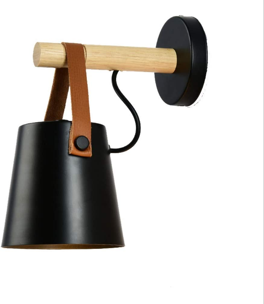 Nordic wood /& leather sconce Modern LED Wall Lamp Living Room Wooden belt Wall Lights aisle background cafe lighting,Black
