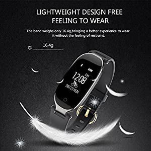 WOWGO Fitness Tracker, Women Sport Tracker Smart Watch Band Bracelet, Heart Rate Monitor Smart Bracelet,Wristband Watch with Health Sleep Activity Tracker Pedometer for Smart Phone (Black and Silver)