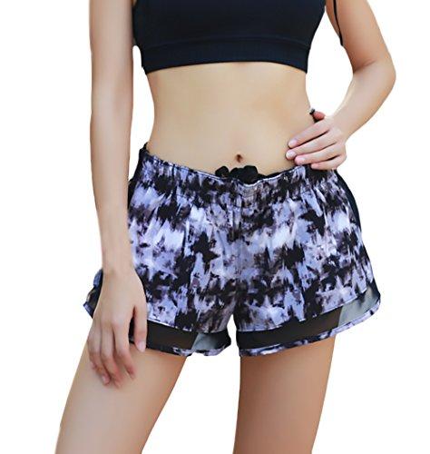 Rapida Sportivi 1 Pezzi Pantaloni Corti Donna Yoga Shorts Asciugatura Due Estive In Casual Pantaloncini Vita Black Giovane Corti Ragazze Running Moda Elastico Fake YxBUO