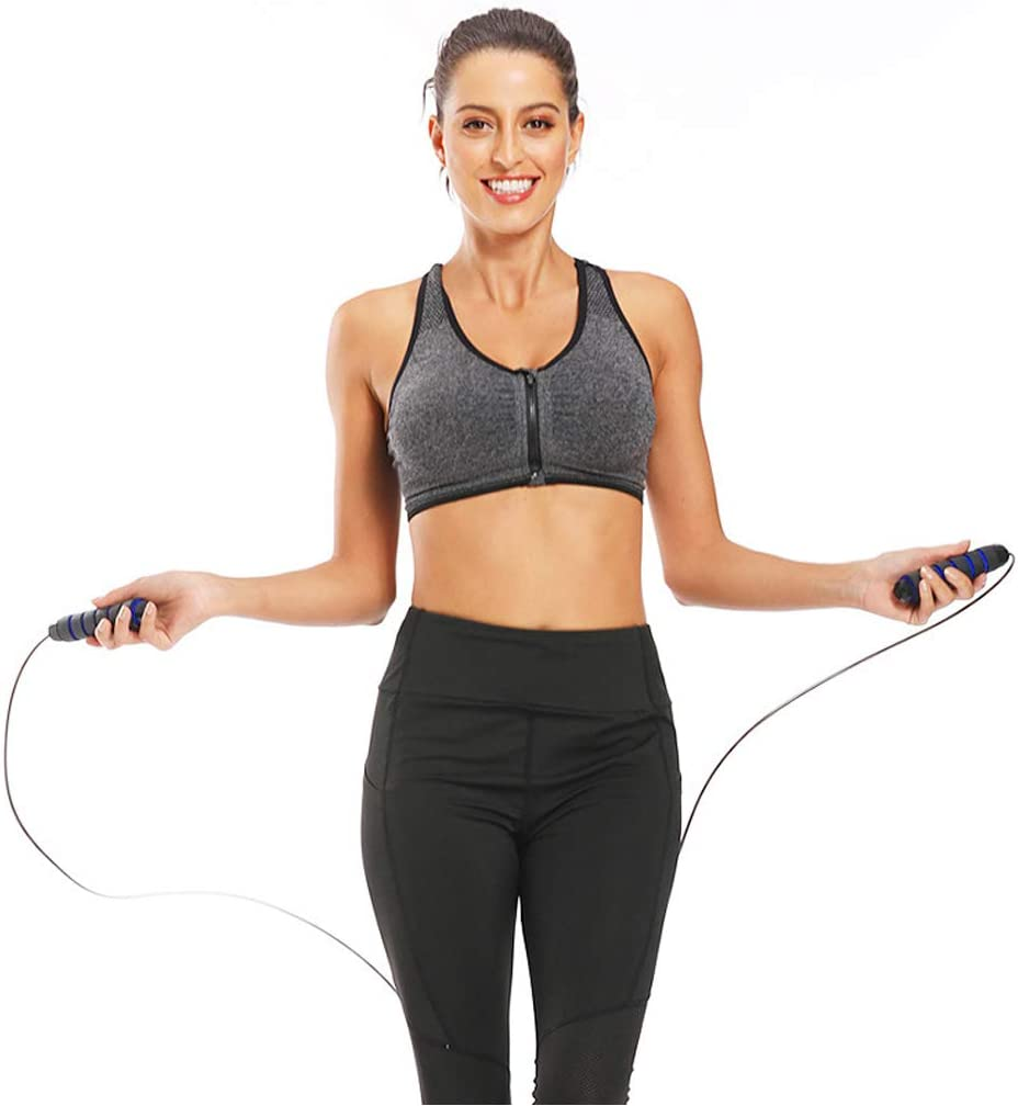 Adjustable Length Skipping Rope Cable and Memory Foam Handles for Fitness Workout Exercises Boxing and Home Fitness Jump Rope With Tangle-Free Ball Bearings Skipping Rope