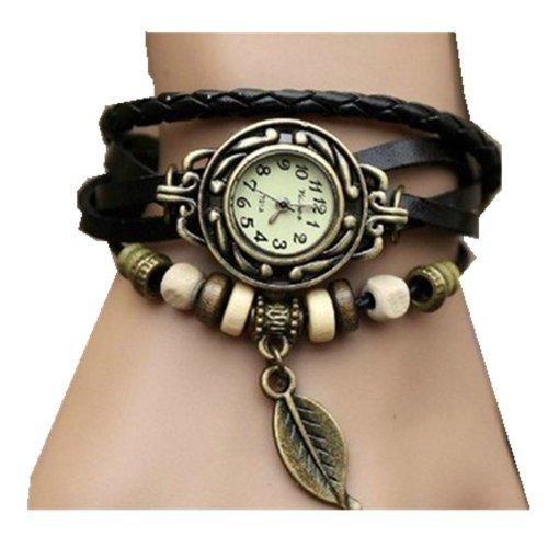 Women Weave Wrap Leather Bracelet Wrist Watch Black - 3