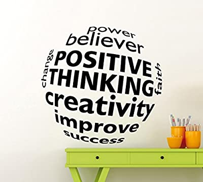 Positive Thinking Creativity Business Wall Decal 3D Ball Business Motivation Word Career Workplace Office Vinyl Sticker Home Interior Art Decoration Any Room Mural Waterproof Vinyl Sticker (234xx)