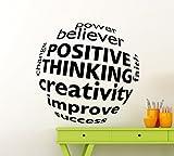 Positive Thinking Creativity Business Wall Decal 3D Ball Business Motivation Word Career Workplace Office Vinyl Sticker Home Interior Art Decoration Any Room Mural Waterproof Vinyl Sticker (234xx)