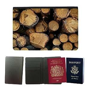 Couverture de passeport // M00150527 Bosque Saw cosecha Árboles Bloquear // Universal passport leather cover
