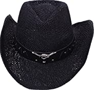 AshopZ 2-Tone Cattleman Straw Western Cowboy Cowgirl Hat w/Beaded or Bull Band