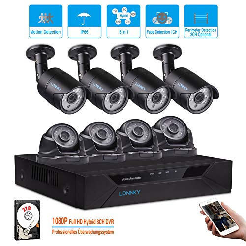 LONNKY 8CH FULL 1080P Intelligent 5-in-1 DVR Security System with 8 Outdoor 2.0MP CCTV Security 4 Bullet and 4 Dome Camera, 2TB HDD Hard Driver, Support Face Detection, Smartphone Remote Viewing,Black