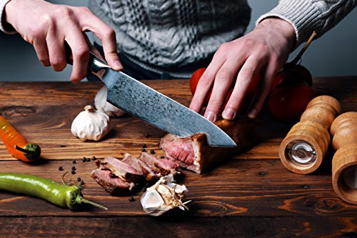 Danak Chef knife, 8 inch sharp German Carbon Stainless Steel Blade with wooden handle in ergonomic gift box, Kitchen knife, balanced knife for professional cooking by Danak (Image #4)