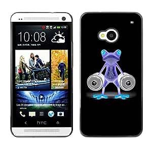 Caucho caso de Shell duro de la cubierta de accesorios de protección BY RAYDREAMMM - HTC One M7 - Funny Gym Bodybuilder Neon Frog