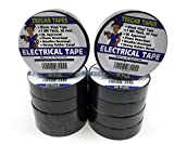 Black Electrical Tape - Black Vinyl Electric Tape (10 Pack) | 7 mil Thick Vinyl Tape 3/4 Inch Wide 66 Foot Long Roll | Strong Rubber Base | Flame Retardant, Temperature & Weather Resistant