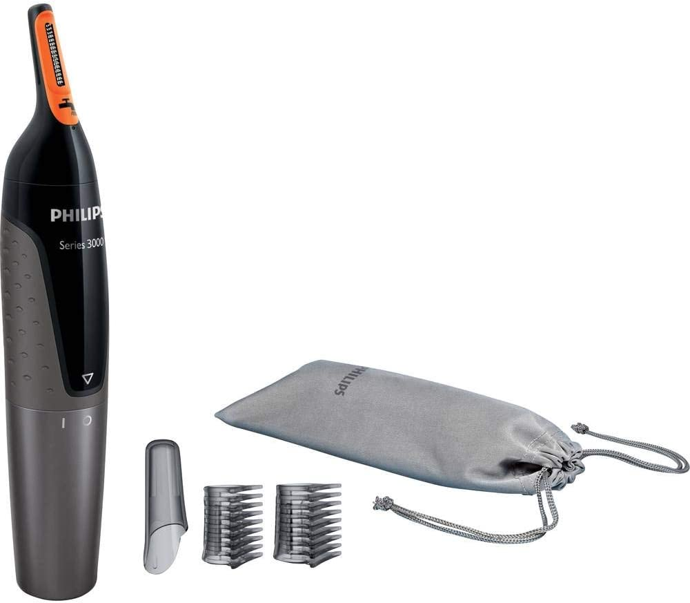 Philips NT3160/10 - Recortador de vello, nariz y orejas, resistente al agua, color negro y plateado, battery-powered