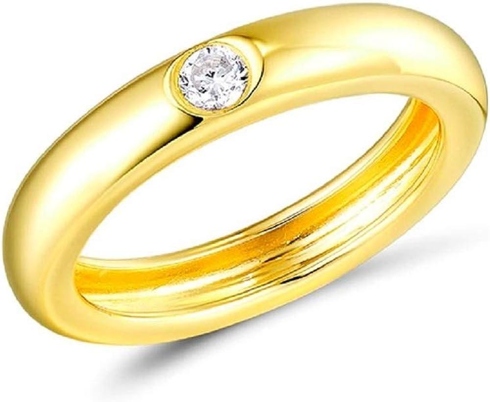 XJJJ Anillo Anillo apilable de Piedras Preciosas Multicolores de Plata esterlina para Mujer Accesorios de Moda de Moda 8 Color de Oro Amarillo