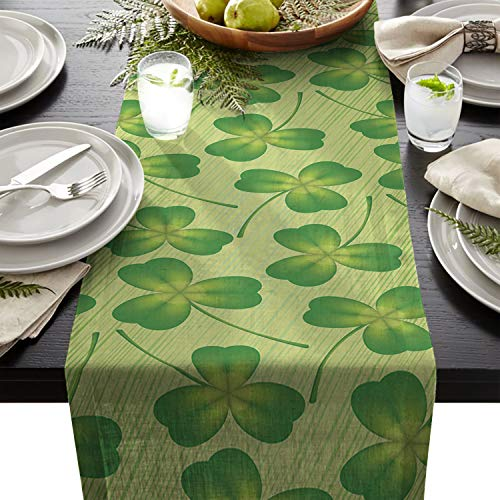 - Cotton Linen Table Runner Rectangle Plate Mat Outdoor Rug Runner for Coffee Dining Banquet Home Decor, Lucky Irish Shamrock Clover Monochrome Traditional Saint Patrick's Day Arrangement, 16 x 72 inch
