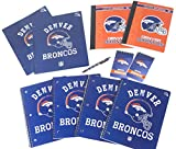 Denver Broncos back to school set includes ballpoint pen, 2 large spiral Single subject notebooks.