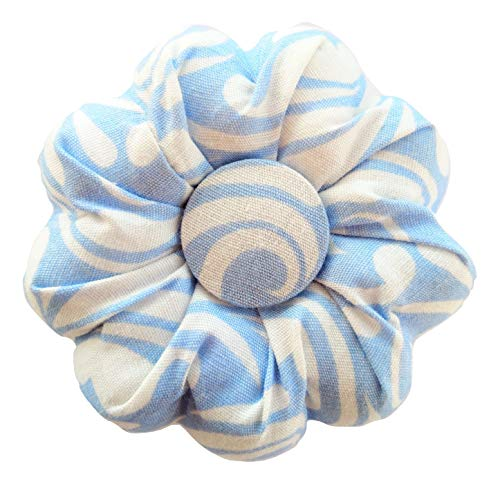 White Blue Floral Flower Pin Needle Cushion Pincushion Cute Tartan Cute Small Size Pumpkin for Pins Needles Holder Safety Sewing Pincushions Girl Women Gift Craft Handmade Quilting