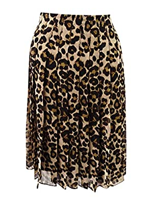 Tommy Hilfiger Womens Animal Print Above Knee Pleated Skirt