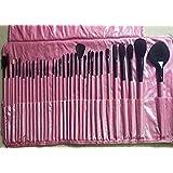 32 pcs Pink Cosmetic Facial Make up Brush Kit Makeup Brushes Tools Set Pink Leather Case
