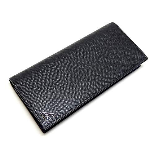プラダ メンズ長財布 ブラック+ブルー サフィアーノクイル 2MV836_2E3E_F011E PRADA B07Q7XTW72