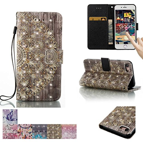 iPhone 7 Case, Firefish [Card Slots] [Kickstand] Flip Folio Wallet [3D Painting] Case Shell Scratch Resistant Protective Cover for Apple iPhone 7 -Golden Flower