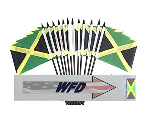 """PACK of 12 4""""x6"""" Jamaica Miniature Desk & Table Flags, 1 Dozen 4""""x 6"""" Jamaican Small Mini Stick Flags (Flags Only)"""