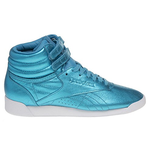 Mode Baskets Femme Reebok Metallic Hi Freestyle Bleu qwTOfXv