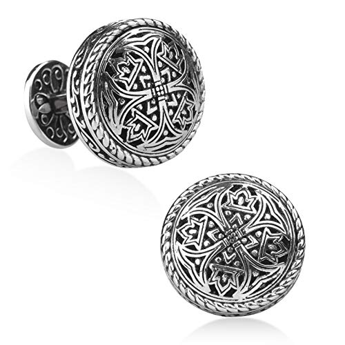 (Silver Clover Cufflinks - Best Gifts for Men, Wedding, Business, with Luxury Gift Box)