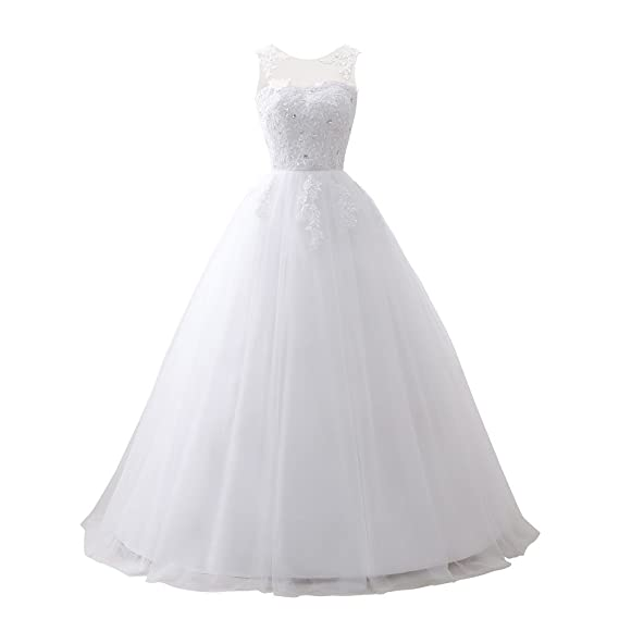 Drasawee Womens Sexy Backless Applique Fluffy Wedding Dress Rhinestone Sleeveless Maxi Party Evening Dresses White UK4