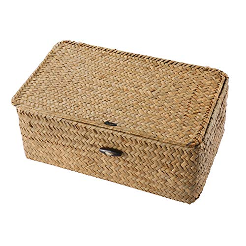 Vosarea Rattan Storage Basket Makeup Organizer Multipurpose Container with Lid (Baskets Lidded Wicker Small)