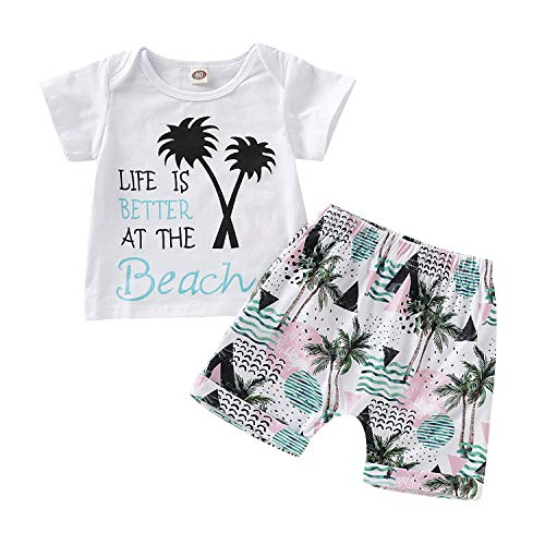 Infant Toddler Baby Boys Summer Outfit Set,Short Sleeve Letter Print T-Shirt Beach Shorts Pants Clothes (White, 4-5 Years)