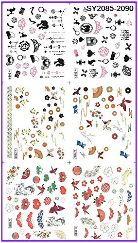 ee87efa864 Buy Veena 6 Pack Lot Glitter Water Decal Nail Art Nail Sticker High ...