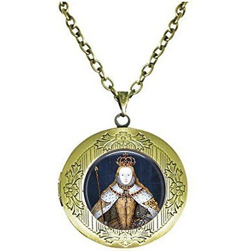 yijun Queen Elizabeth I in her Coronation Robes - British Monarch - Queen Elizabeth Pendant - Big Ben - Great Britain Memento - UK Jewellery Locket Necklace