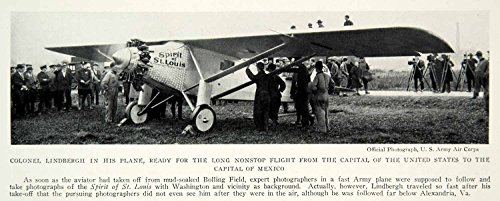 1928 Print Colonel Lindbergh Spirit St  Louis Nonstop Flight Capital Historical   Original Halftone Print