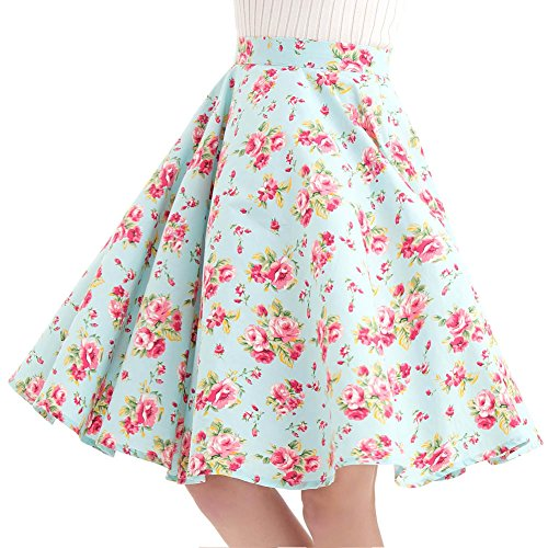Vintage Retro Mint - FiftiesChic 100% Cotton Polka Dot Floral 50s Vintage Retro Full Circle Skirt (Medium, Mint Peony)
