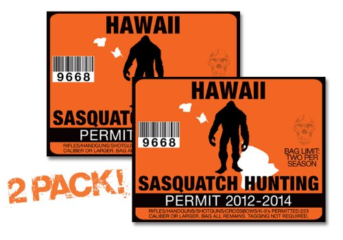 Hawaii-SASQUATCH HUNTING PERMIT LICENSE TAG DECAL TRUCK POLARIS RZR JEEP WRANGLER STICKER 2-PACK!-HI