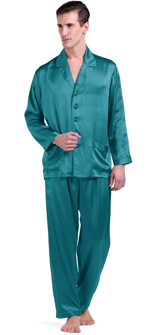 LilySilk Men's Silk Long Pajamas Set 22 Momme for Wedding Party X-Large, Dark Teal