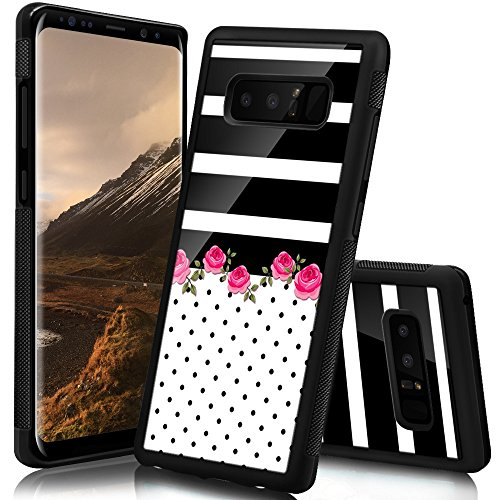 Ademen Samsung Galaxy Note 8 Case, Dots Stripes Flowers Design Hard PC Soft Silicone Protective Durable Shockproof Case for Samsung Galaxy Note8 ()