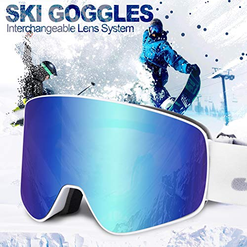 Ski Goggles Men Youth Boys Women and Girls Anti Fog Snowboard Goggles UV400 ATV Snow Skiing Ski Glasses OTG Over-The-Glasses Interchangeable Lens Flexible Soft TPU Frame Helmet Compatible, 6 colors (Best Anti Fog Snow Goggles)