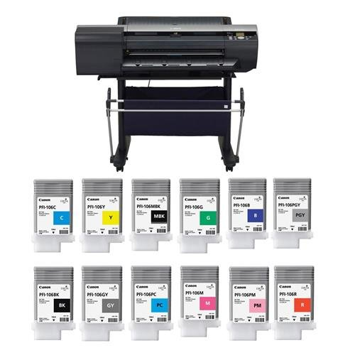 Canon imagePROGRAF iPF6400 24in Large Format Photo Printer - Bundle with PFI106 Pigment Ink, 130ml - Includes Matte Black, Black, Cyan, Magenta, Yellow, Photo Cyan/Magenta/Gray, Red, Green, Blue, Gray