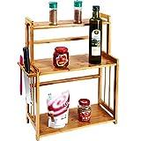 countertop storage shelf - Countertop 3-Tier Natural Bamboo Spice Rack, Freestanding Kitchen Cutlery Storage Organizer Holder Shelf with Knife Block