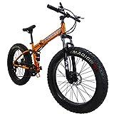 SAIGULA Fat Tire Folding Mountain Bike,Fat Bikes 26 Inch 4.0' Tire 7 Speed for Beach Snow (FB2 Orange)