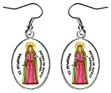"""St Dymphna Patron of Incest Victims 1"""" Silver Hypoallergenic Stainless Steel Earrings"""