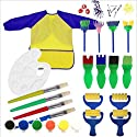 Kids Paint Set Bundle with Yellow/Blue Long Sleeve Art Smock Brushes Paints and Palette (19 items)の商品画像