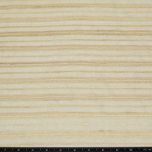 Cream & Beige Silk Stripes, 100% Raw Silk Fabric, By The Yard, 44