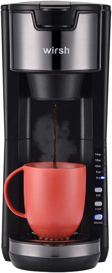 Wirsh Single Serve Coffee Maker, 2 in 1 Coffee Machine Compatible with Single Serve K-Cup Pod and Ground Coffee, Compact Coffee Maker with 30 oz Detachable Reservoir,5 brew size and Adjustable Drip Tray