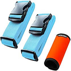 Hibate (2_Blue) Luggage Straps Belts and (1_Orange) Neoprene Suitcase Handle Wrap Grip Tags