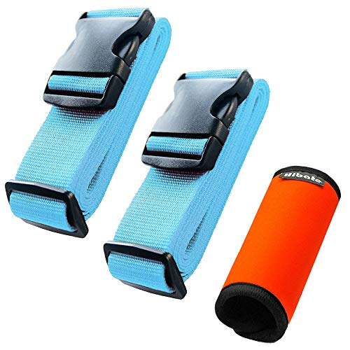 - Hibate (2_Blue) Luggage Straps Belts and (1_Orange) Neoprene Suitcase Handle Wrap Grip Tags