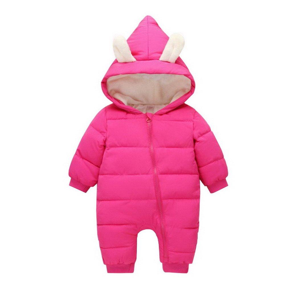 Ahatech Overealls Baby Jungen Mädchen Daunen Baumwolle Strampler mit Kapuze für Winter YJFSHI0775RR7