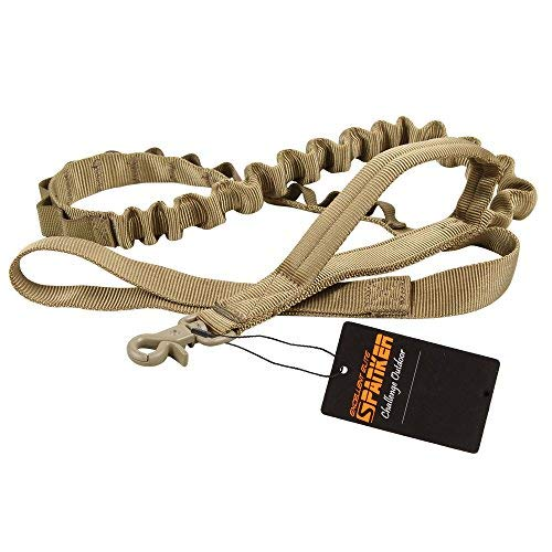 (EXCELLENT ELITE SPANKER Tactical Bungee Dog Leash Military Adjustable Dog Leash Quick Release Elastic Leads Rope with 2 Control Handle(Coyote Brown))