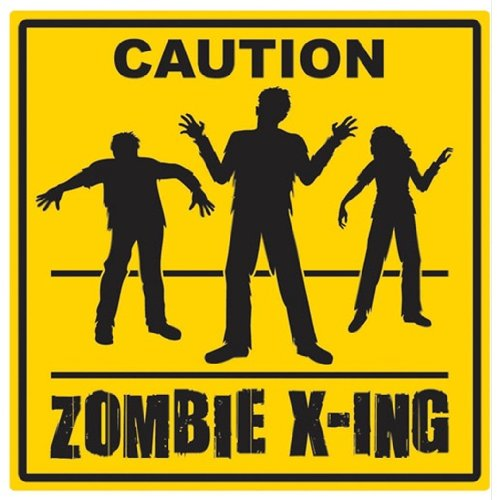 Caution Zombie Crossing Novelty Sign