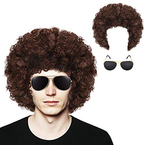 Frienda Afro Wig Short Curly Hair Wig and Gold Frame Sunglasses for 70s 80s 90s Halloween Cosplay Party Accessory (Brown)