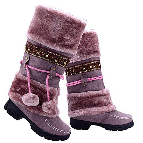 Odema Womens Pom Pom Fully Fur Lined Mid-calf Winter Flat Snow Boots Purple pWxW1s